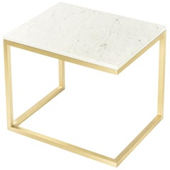 Esopo Modern Handmade Brass Coffee Table with White Carrara Marble Top