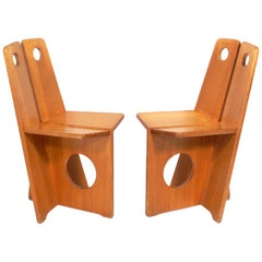 Pair of Low Slung German Constructivist Chairs