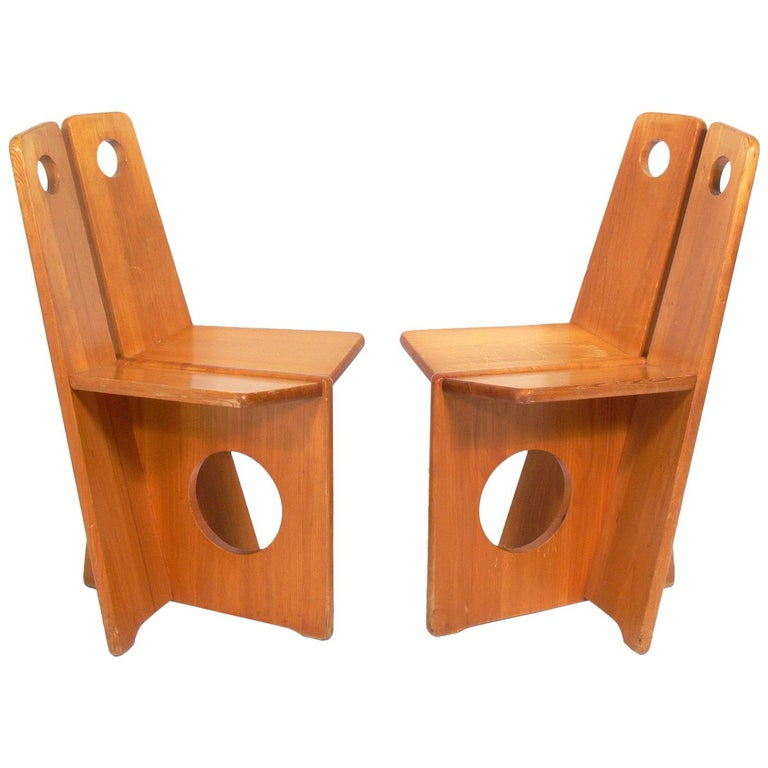 Pair of Low Slung German Constructivist Chairs For Sale