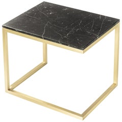 ESOPO Modern Handmade Brass Coffee Table with Black Marquina Marble Top