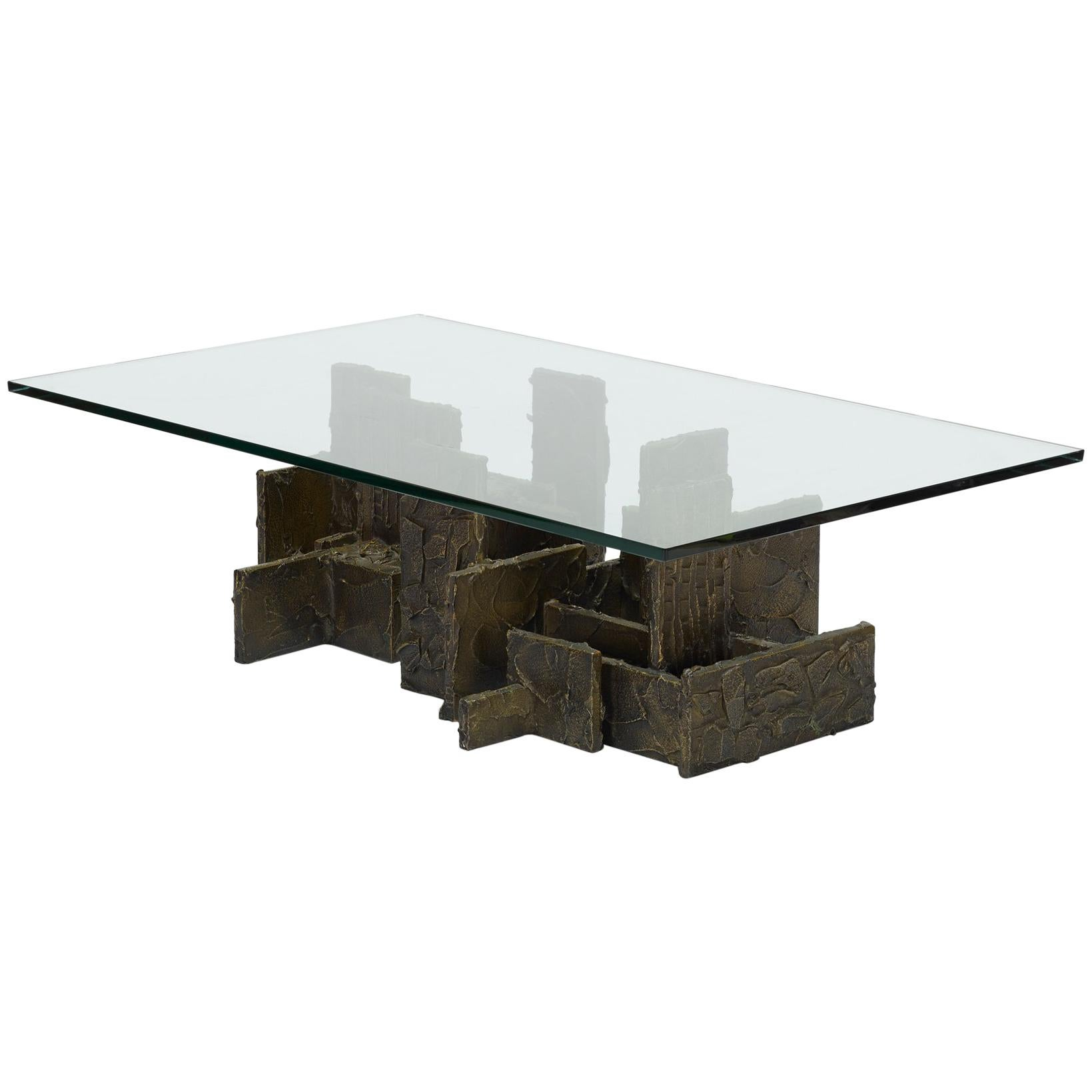 Brutalist Style Sculpted Bronze Coffee Table by Paul Evans