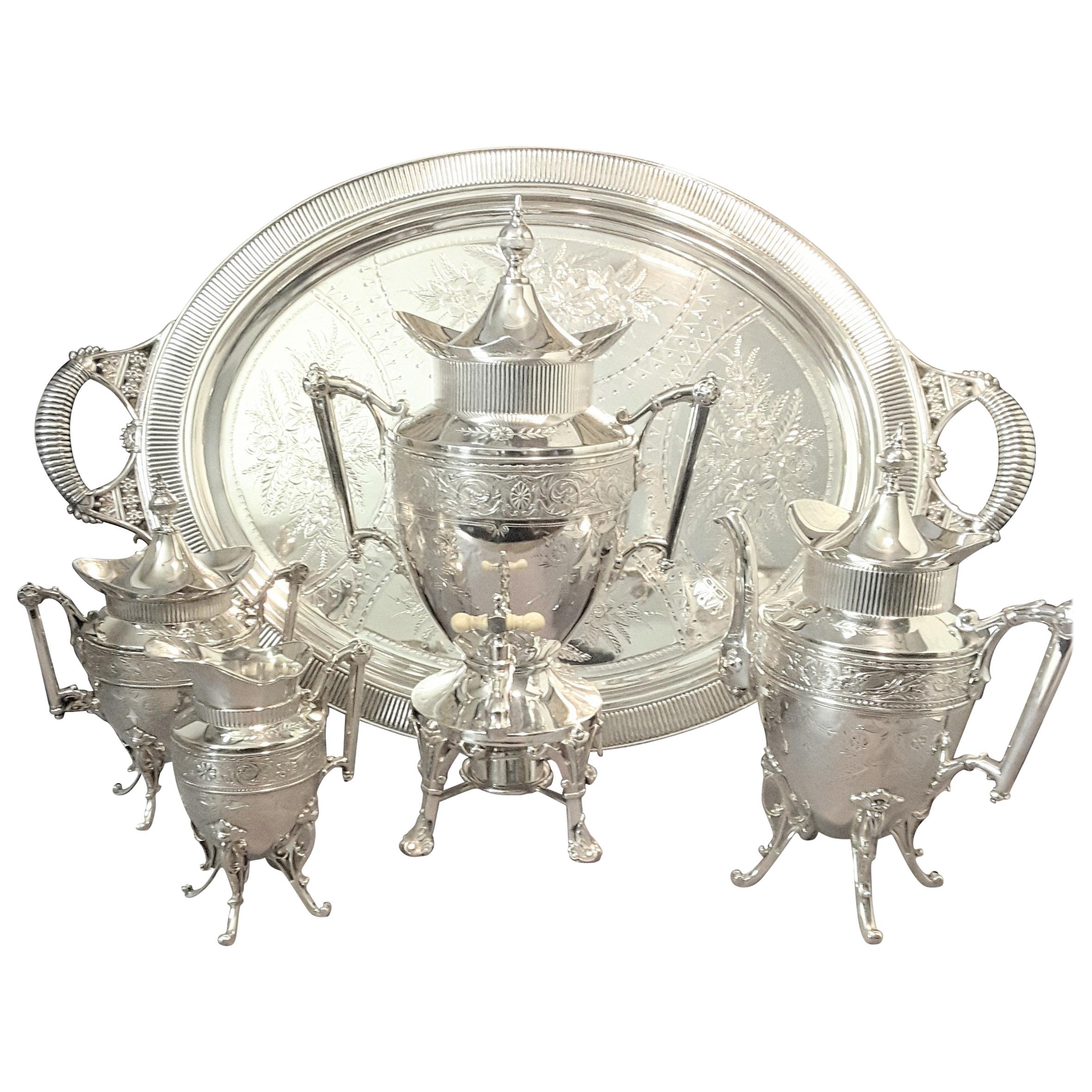 Exquisite Aesthetic Movement Silverplated Tea Service by Simpson, Hall & Miller