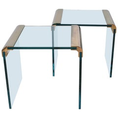 Pair of Pace Furniture Leon Rosen Brass and Glass Side Tables