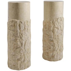 Pair of 1970s Sculptural Round Travertine Textural Pedestals on Equal Heights
