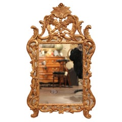 18th Century French Louis XV Carved Giltwood Mirror from Provence