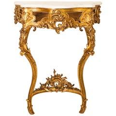 Antique Rococo Style Gilded Marble-Top Console