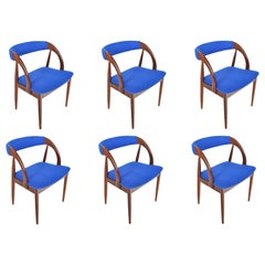Set of Six Danish Mid-Century Modern Walnut Dining Chairs