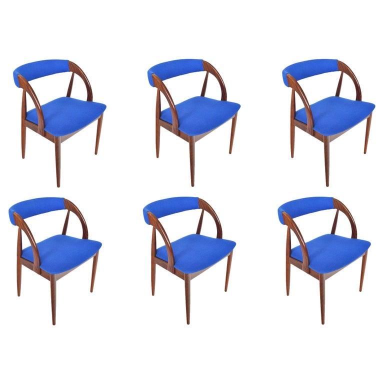 Set of Six Danish Mid-Century Modern Walnut Dining Chairs