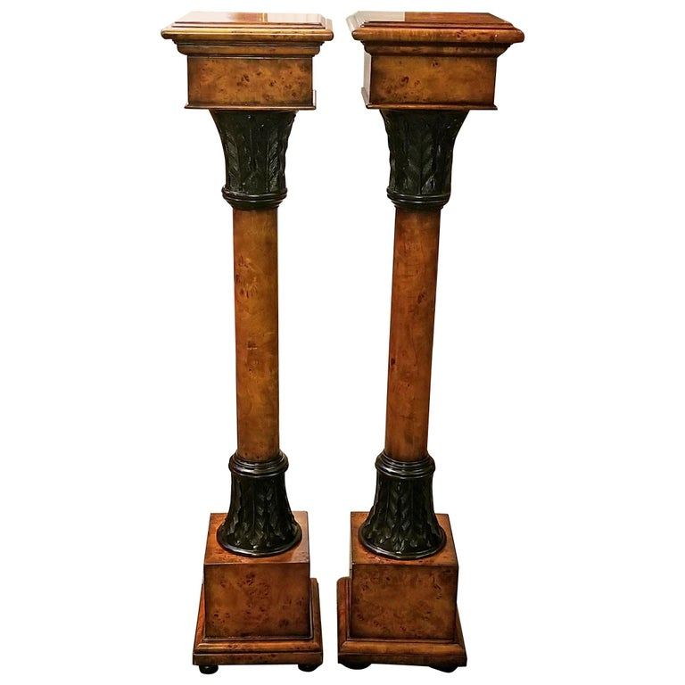 Pair of Biedermeier Style Burl Yewood and Bronze Mounted Pillars For Sale