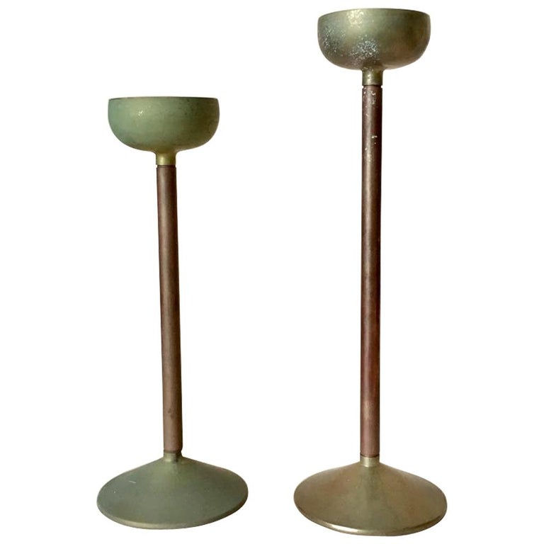 Set of Two Art Deco German Copper and Brass Candleholders, 1930s For Sale