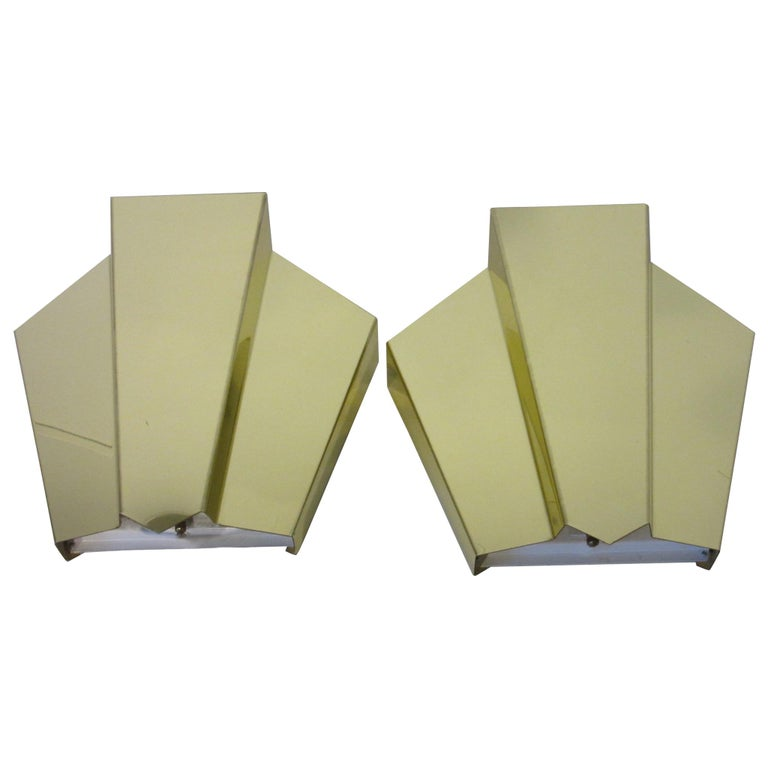 Brass Wall Scones in the Style of Curtis Jere For Sale