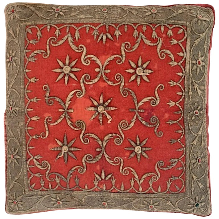 Antique Zardozi Pillow For Sale