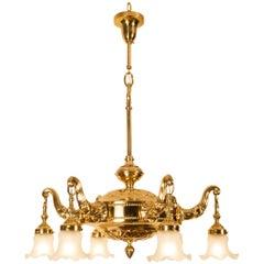 Vienna Secession Jugendstil Brass Chandelier