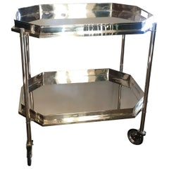 """Art Deco Double-Tier Silver Plated Tray Cabaret Service Bar Cart """"Not Chrome"""""""