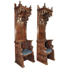 Rare Pair of Antique Gothic Walnut Wood Cathedral Chairs from France