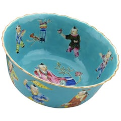 Signed 19th Century Chinese Famille Rose Porcelain Bowl with Characters