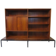 Midcentury Danish Teak Walnut and Steel 2-Piece Bookcase