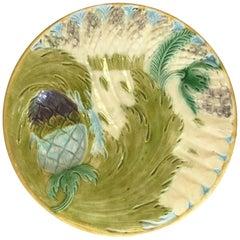 Majolica Asparagus Plate Saint Amand, circa 1880