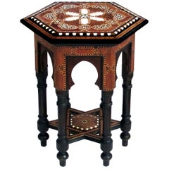 Intricately Inlaid Syrian Hexagonal Table