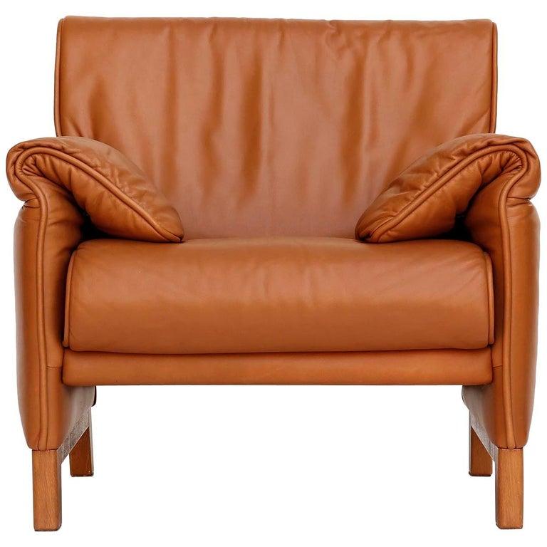 1 of 7 De Sede 'DS-14' Armchair Lounge Chair, Cognac Leather Teak, 1990s For Sale