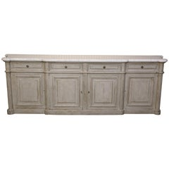 Painted Louis XVI-Style Walnut Enfilade with Shaped White Marble Top