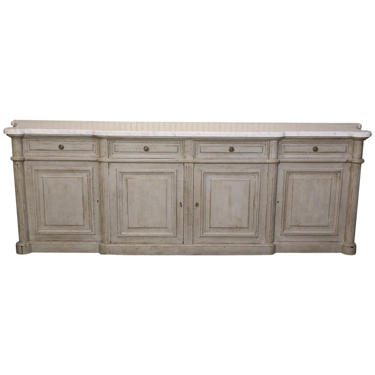 Painted Louis XVI-Style Walnut Enfilade with Shaped White Marble Top For Sale