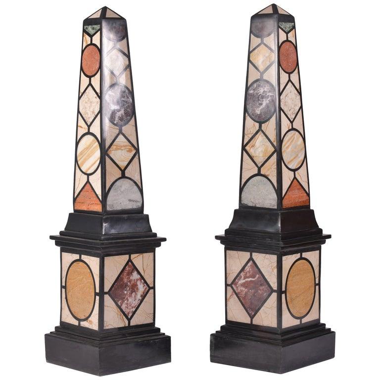 Pair of 20th Century Marble Specimen Obelisks For Sale