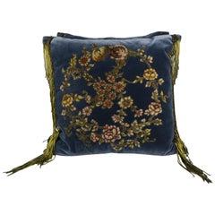 Pair of French Metallic & Chenille Appliqued Velvet Pillows by Melissa Levinson