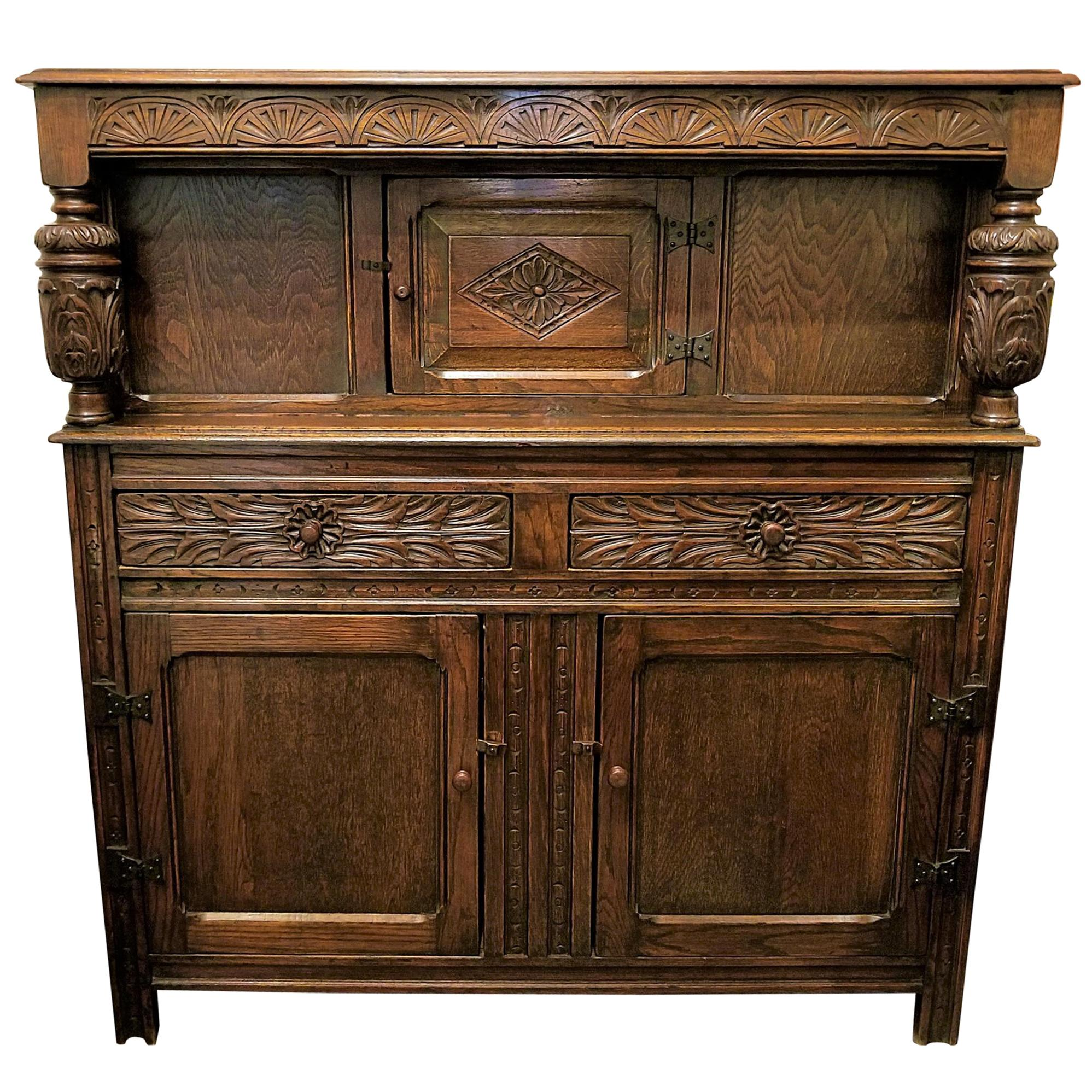 English Oak Renaissance Revival Cabinet