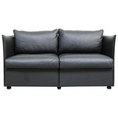 Cassina Model Landeau Leather Sofa Black Design Mario Bellini
