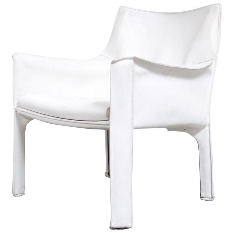 Cassina Cab 414 Leather Lounge Chair Armchair White