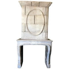 18th Century French Fireplace Chimney, Mantelpiece with Trumeau Louis XIV