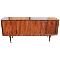Classic French Art Deco Style Macassar Ebony Sideboard / Buffet, circa 1940s