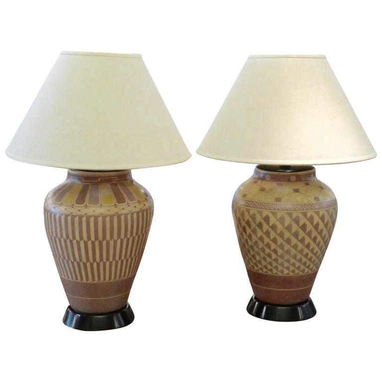 Pair of Steve Chase Designed Native American Pottery Lamps For Sale