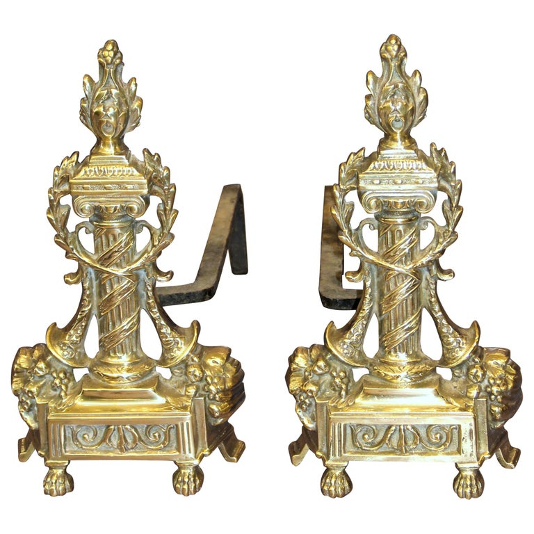 Pair of Antique French Style Cast Brass Andirons For Sale