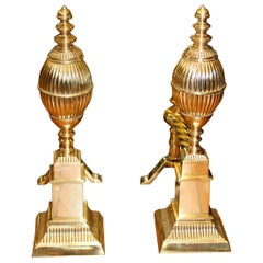 "Pair of Heavy Cast Brass Federal Style Reeded ""Lemon Top"" Fire Dogs or Andirons"