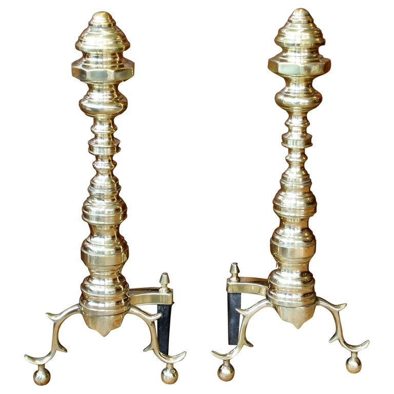 Pair of Old American Cast Brass Federal Style Andirons For Sale