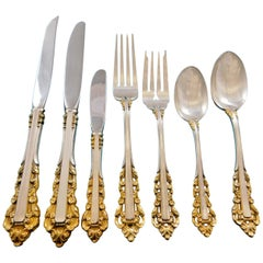 Medici Golden Accent by Gorham Sterling Silver Flatware Set 8 Service 93 Pieces