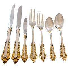 Medici Golden Accent by Gorham Sterling Silver Flatware Set 8 Service 93 Pieces