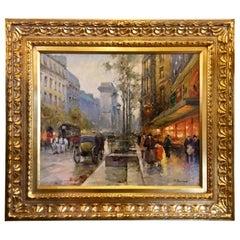 Original Paul Renard Oil Painting of a Parisian Street Scene on Avenue Montaigne