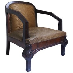 Pair of Art Deco Club Armchair with Golden Brocade Silk , 1930s