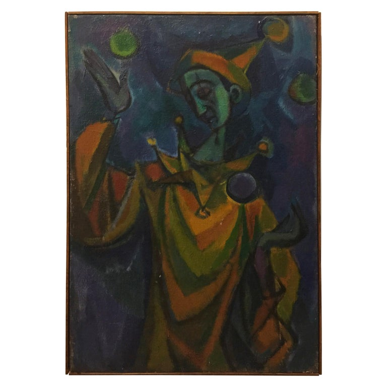Harlequin Abstract Modernism Oil Painting on Canvas by Remo Bramanli For Sale