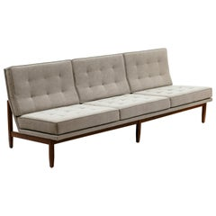 Florence Knoll Armless Three-Seat Sofa with Walnut Frame and New Gray Upholstery