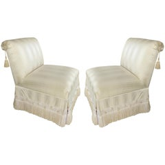 Custom Upholstered Slipper Chairs with Trim and Tassels, Pair