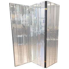Henredon Three-Panel Beveled Mirror Room Divider