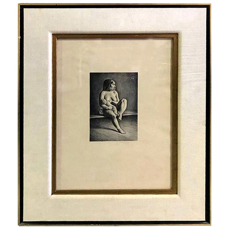 """Rockwell Kent Pencil Signed Lithograph """"Greenland Mother, Nursing Child"""", 1934"""