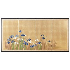 Japanese Four-Panel Byobu Screen Irises on Gilt