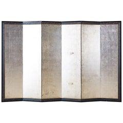 Japanese Meiji Six-Panel Silver Leaf Screen