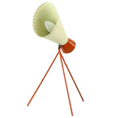 Midcentury Metal Table Lamp in Cream and Orange by Josef Hurka for Napako