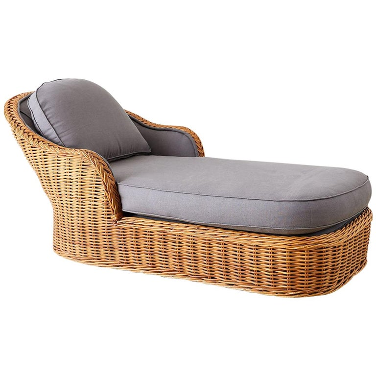 Michael Taylor Style Wicker Chaise Lounge For Sale